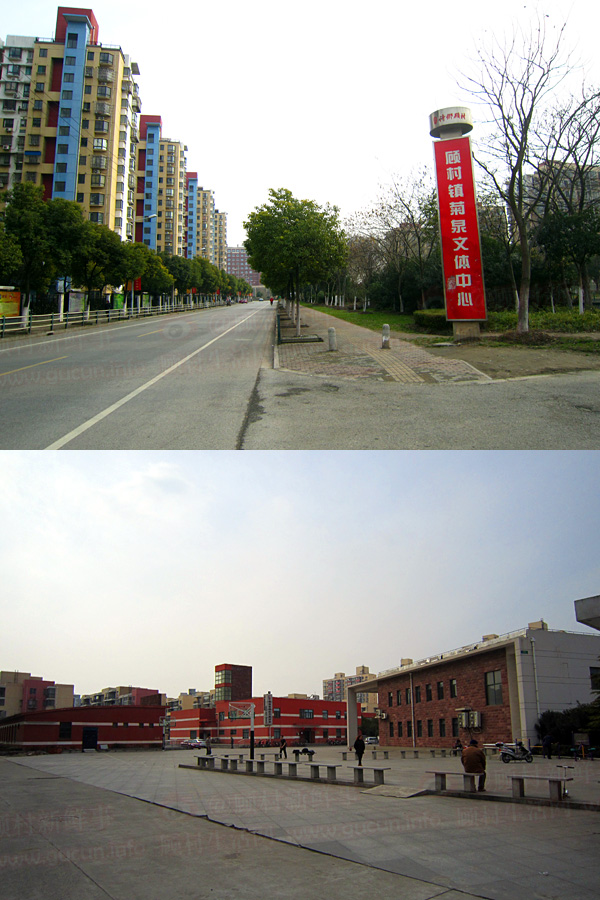顾村镇文化服务中心菊泉文体分中心招牌和全景照